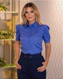 Camisa Tricoline Manga Curta Azul Bic