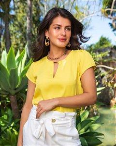 Blusa Básica Crepe Amarelo
