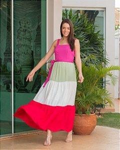 Vestido Longo Tricolor Aramodu