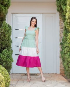 Vestido Midi Tricoline Color Blocking Aramodu