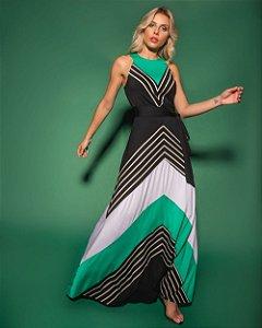 Vestido Longo Listras Color Blocking