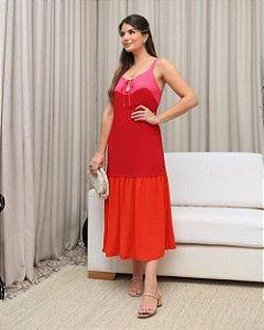 Vestido Linho Tricolor