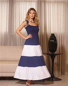 Vestido Longo Tricolor Lastex