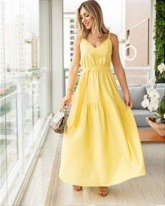 Vestido Midi Em Linho Amarelo