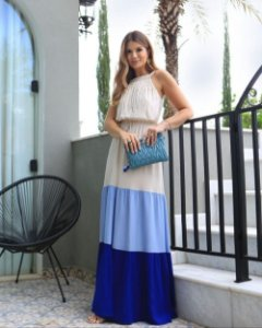 Vestido Longo  Color Blocking Aramodu