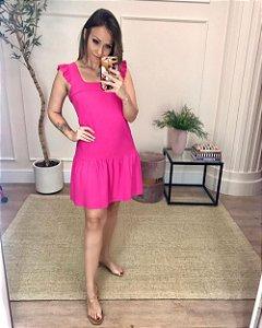 Vestido Curto Decote Quadrado Pink