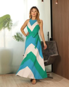 Vestido Longo Listras Color Blocking Aramodu