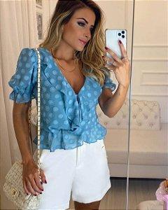 Blusa  Com Jabots Poá Alto Relevo - Azul