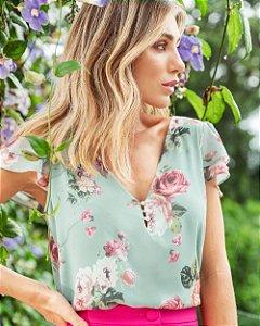 Blusa Floral Decote V Botões Pérola