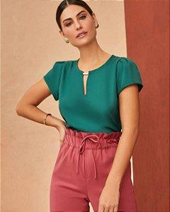 Blusa Básica Crepe Unique Chic - Verde