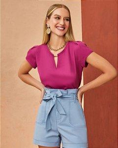 Blusa Básica Crepe Unique Chic - Pink