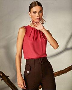 Blusa Crepe Regata Pregas Renda Vermelho Unique Chic