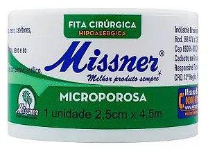 Fita Cirúrgica Microporosa Hipoalergenica 2,5cm x 4,5m Missner
