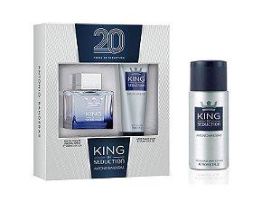 Kit Perfume King of Seduction Masculino 100ml + Pós Barba 75ml + Desodorante 150ml