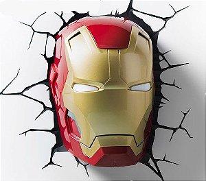 Luminária Máscara do Homem de Ferro 3D LED