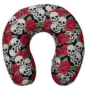 Almofada de Pescoço Skull Roses