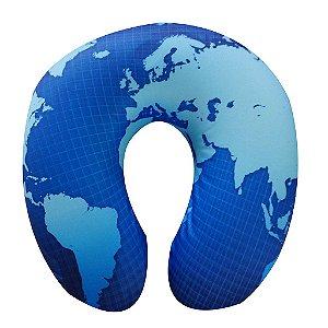 Almofada de Pescoço Mapa Mundi Azul