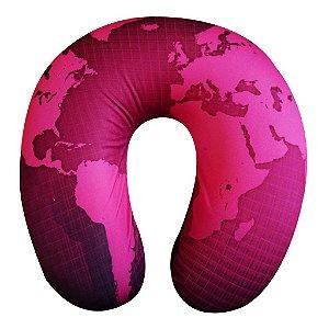 Almofada de Pescoço Mapa Mundi Rosa