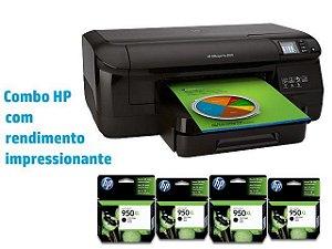 Impressora HP Jato de Tinta Officejet Pro 8100 ePrinter Wireless + 4 Cartuchos de Tinta HP Officejet 950XL CN045AL Preto