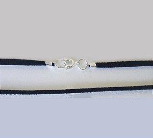 Cordão de Couro Preto (fecho banhado a Prata 925) - 65cm