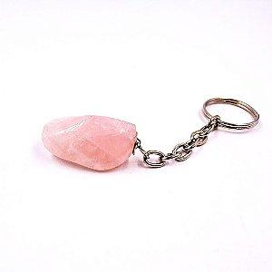 Chaveiro de Pedra Quartzo Rosa (Pedra do Amor) Auto cura