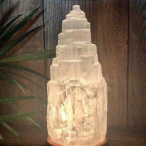 Luminária Abajur de Selenita Branca (cristal) - Tam P