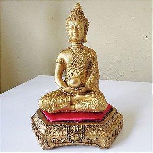 Buda Tibetano Dourado No Puff