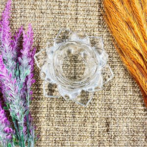 Castiçal Flor de Lotus Vidro