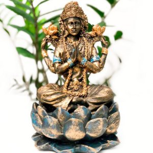 Deusa Lakshimi Grande na Flor de Lótus
