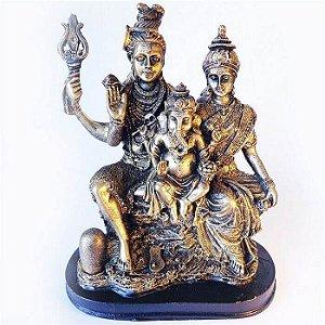 Família Hindu: deuses Parvati, Shiva e Ganesha