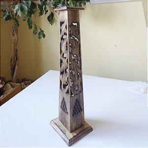 Incensário Indiano Torre de Madeira Obelisco