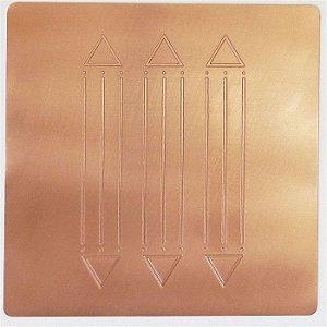 Placa Tri Luxor  Cobre Maciço 14 x 14cm