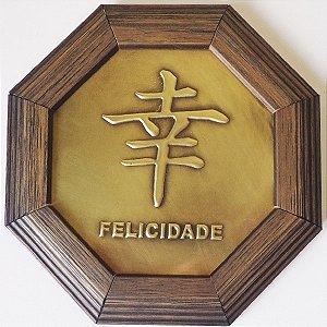 Quadro Ideograma Felicidade Moldura Madeira