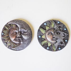 Amuleto Imã de geladeira Sol, Lua e estrela