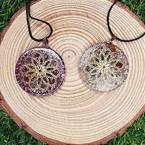 Colar Orgonite Mandala da Flor da Vida e Espiral em Cobre