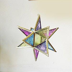 Fio de Luz Estrela de Vidro Colorido