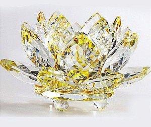 Flor de Lótus de Cristal Efeito Amarelo