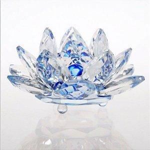 Flor de Lótus de Cristal Efeito Azul