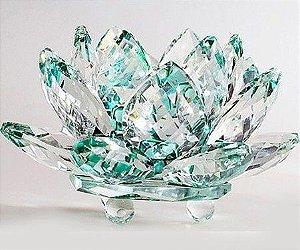 Flor de Lótus de Cristal Efeito Verde