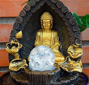 Fonte Decorativa da Alegria com Buda Dourado