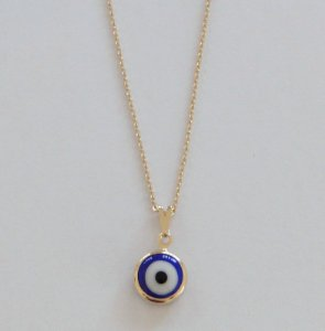Gargantilha Mini Olho Grego Banhado Ouro/Ródio