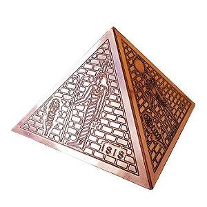 Pirâmide 15cm em Cobre com Ilustrações Egípcias