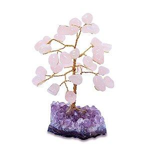 Árvore de Pedras Quartzo Rosa 13cm