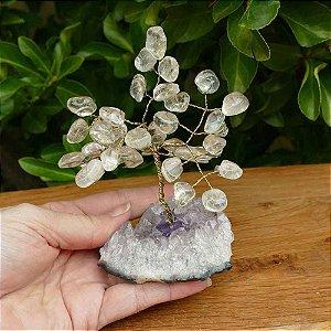 Árvore de Pedras Naturais (Quartzo Cristal) 13cm