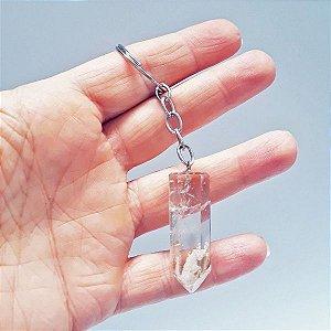 Chaveiro de Pedra Quartzo Cristal com Lodolita