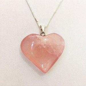 Colar de Quartzo Rosa Coração