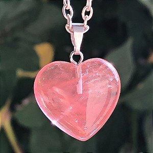 Colar Quartzo Rosa Coração
