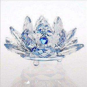 Flor de Lótus de Cristal Efeito Azul M