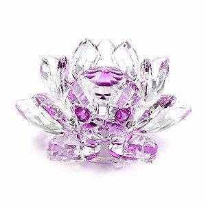 Flor de Lótus de Cristal Efeito Violeta P