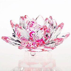 Flor de Lótus de Cristal Efeito Rosa M